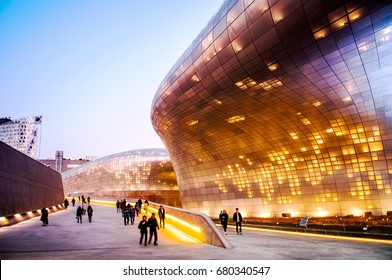 Dongdaemun Design Plaza (DDP)  on 11 Dec 2015, Seoul, South Korea - Famous Landmark was designed by Zaha Hadid and make DDP the largest 3D amorphous structure in the world