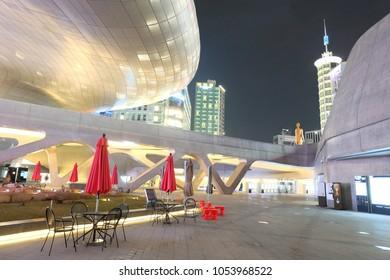 Dongdaemun Design Plaza (DDP), Seoul, South Korea - November 10, 2016: Modern architecture of Dongdaemun Design Plaza at night.