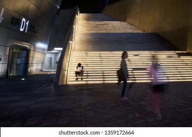 Dongdaemun-gu, Seoul, South Korea - September 2, 2017 : The Nightscape of Dongdaemun Design Plaza (DDP), a modern architecture