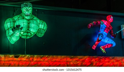 Dongducheon, South Korea; February 1, 2019:  Light figures resembling the Hulk and Spiderman on front of building. The Hulk copyright Universal and Marvel. Spiderman copyright Sony.