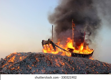 DONGGANG, TAIWAN - OCT, 10, 2015 - The Burning Boat Festival of Wang Yeh held once every three years - Donggang King Boat Ceremony