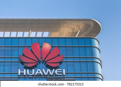 Dongguan, China - December 9, 2017 - Logo of Huawei on the main building of Huawei Base in Songshan Lake District of Dongguan city, Guangdong Province, China.