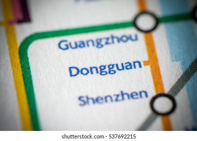 Dongguan, China on a geographical map.