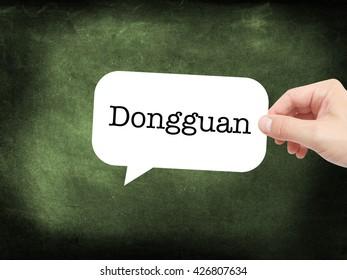 Dongguan written on a speechbubble
