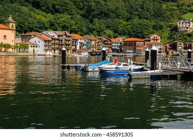 DONIBANE, SPAIN - AUG 27: Fishing town of Pasajes de San Juan (Pasai Donibane) on August 27, 2015 in Donibane, Spain.