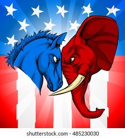 Donkey and elephant facing off.