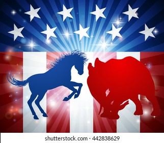 A donkey and elephant in silhouette charging at each other. Mascot animals of American democratic and republican parties, concept for the presidential election debate or politics in general