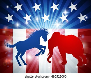 A donkey or jackass and elephant with an American flag design.