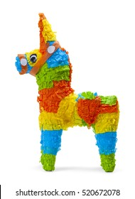 Donkey Pinata Side View Isolated on White Background.