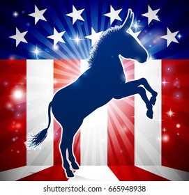A donkey in silhouette with an American flag in the background democrat political mascot animal