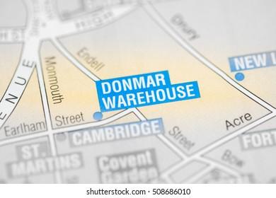 Donmar Warehouse Cinema. London, UK map.