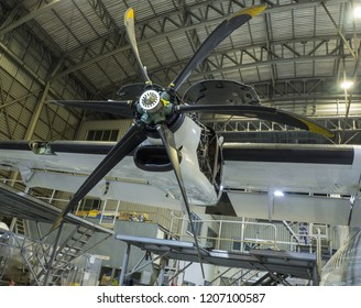 Donmuang airport/Thailand, 10/13/2018: ATR72-500 aircraft in Bangkok Airways' hangar in a c-check maintenance showing the opening of its Pratt & Whitney 100 engine