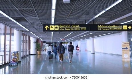 Donmueang Airport, Bangkok, Thailand - December 2nd, 2017: The walk way of passengers to get the baggages and exit from Donmueang airport.