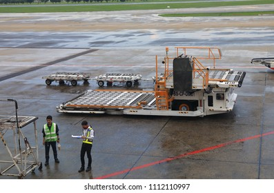 DON-MUEANG, BANGKOK - MAY 2018 : Ground support equipment standby for services in Apron near aircraft bay.
