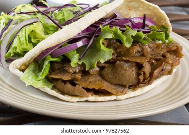 Fast Food Grilled Meat Salad Served In A Pitta Bread