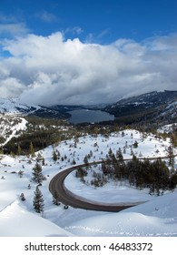 Donner Lake and snow, Donner Summit, near Truckee, California