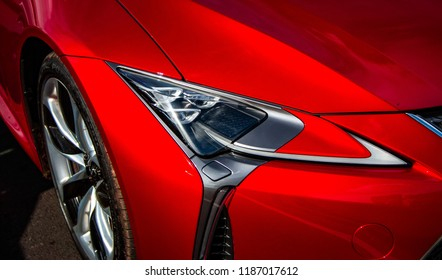 Donnington, Leicestershire / United Kingdom - September 23, 2018: The headlight of a modern Lexus LC500 sports car
