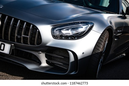 Donnington, Leicestershire / United Kingdom - September 23, 2018: A modern Mercedes-Benz AMG GT-R