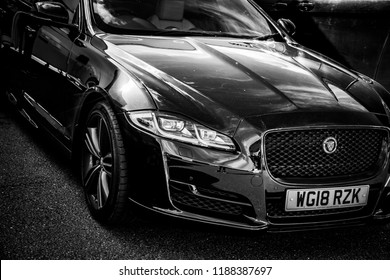 Donnington, Leicestershire / United Kingdom - September 23, 2018: Jaguar XJ Supersports luxury car