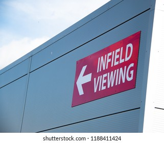 Donnington, Leicestershire / United Kingdom - September 23, 2018: A red sign saying Infield Viewing