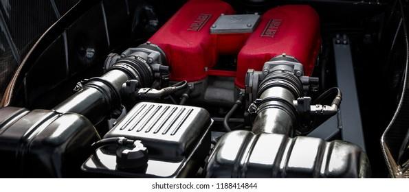 Donnington, Leicestershire / United Kingdom - September 23, 2018: The engine of a Ferrari 360 Challenge Stradale