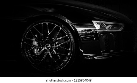 Donnington, Leicestershire / United Kingdom - September 23, 2018: Audi R8 front wheel