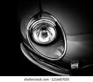 Donnington, Leicestershire / United Kingdom - September 23, 2018: Jaguar E-Type headlight