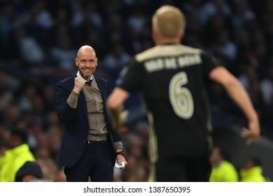 Donny van de Beek of Ajax celebrates with Manager of Ajax, Erik ten Hag after his goal - Tottenham Hotspur v Ajax, UEFA Champions League Semi Final - 1st Leg, Tottenham Hotspur Stadium, London