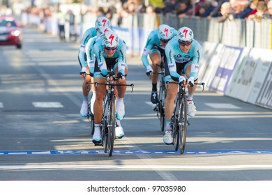 DONORATICO, LIVORNO, ITALY - MARCH 07: Team Omega Pharma Quickstep during the 1st Team Time Trial stage of 2012 Tirreno-Adriatico on March 07, 2012 in Donoratico, Livorno, Italy