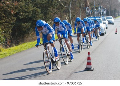 DONORATICO, LIVORNO, ITALY - MARCH 07: Team Colnago CSF Inox during the 1st Team Time Trial stage of 2012 Tirreno-Adriatico on March 07, 2012 in Donoratico, Livorno, Italy
