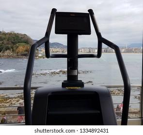 Donostia, San Sebastian, Basque Country, Spain, March, 9,2019: Room fitnes with modern machines in a gymnasium of Tenos de San Sebastian
