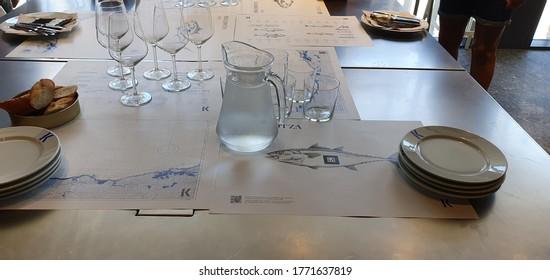 Donostia San Sebastian, Basque Country, Spain, July, 4, 2020: gastronomic tasting table at the Donostia San Sebastian fishermen's association