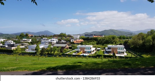 Donostia San Sebastina, Gipuzkoa, Basque Country, Euskadi, Spain, April, 28,2019: Luxury villas next to the hospitas of San Sebastina