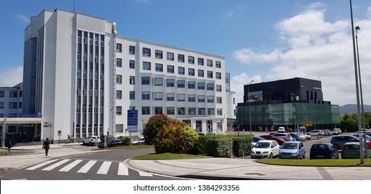 Donostia San Sebastina, Gipuzkoa, Basque Country, Euskadi, Spain, April, 28,2019: Buildings of San Sebastian Hospital