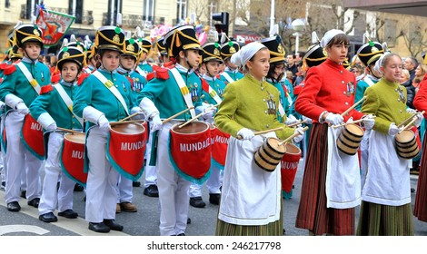 DONOSTIA, SPAIN - JANUARY 20: Local kids in traditional dress participate in the parade of his city.s holiday on January 20, 2015 in San Sebastian-Spain.