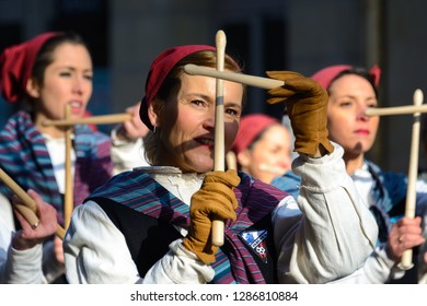 DONOSTIA, SPAIN - JANUARY 20: Undefined local people in traditional dress participate in Tamborrada parade on January 20, 2017 in Donostia-San Sebastian, Spain