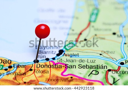 Map Of Spain Eibar.Donostia San Sebastian Pinned On Map Spain Stock Photo Edit Now