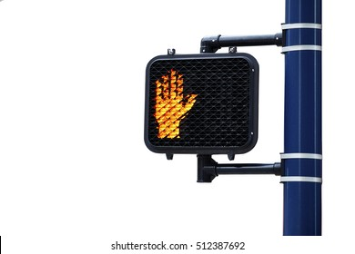 Don't Walk Hand symbol on lighted pedestrian crossing sign mounted to a pole isolated on white
