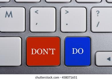 """DON'T/DO"" Word on Keyboard, Antonym Concept"
