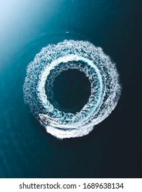 A donut boat in aerial view