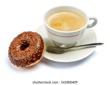 Donut and coffee isolated on white