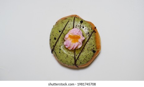 donut with colorful glaze on white background