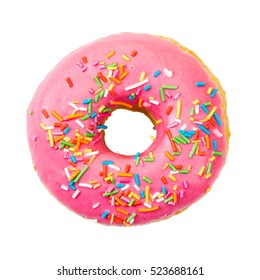 Donut with colorful sprinkles isolated on white background. Top view.