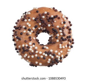 Donut decorated with white and dark chocolate balls isolated on white background, top view