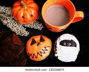 Donut and hot chocolate Halloween food