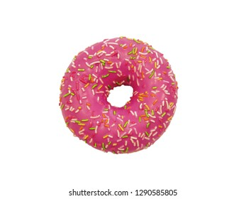 Donut on white background. Top view