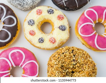 Donut  on white background,Food concept background About Trans fat Design concept.