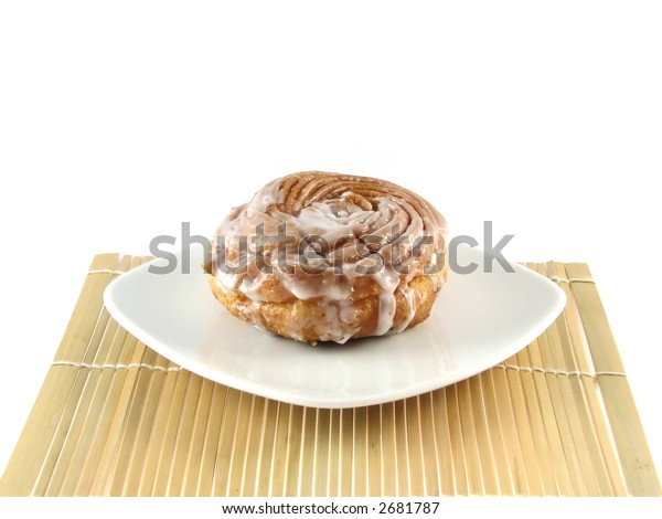 Donut on white plate