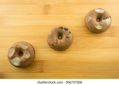 donut on wood table.