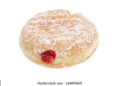 Donut with red jam isolated on white background